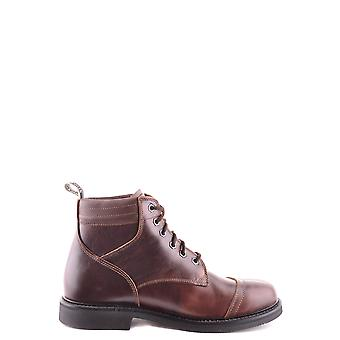 Stone Island Brown Leather Ankle Boots