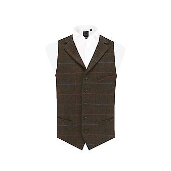 Dobell Mens Brown Windowpane Check Tweed Waistcoat Regular Fit Notch Lapel