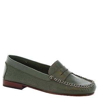 Leonardo skor kvinnors handgjorda genombrutna slip-on loafers grön kalv läder