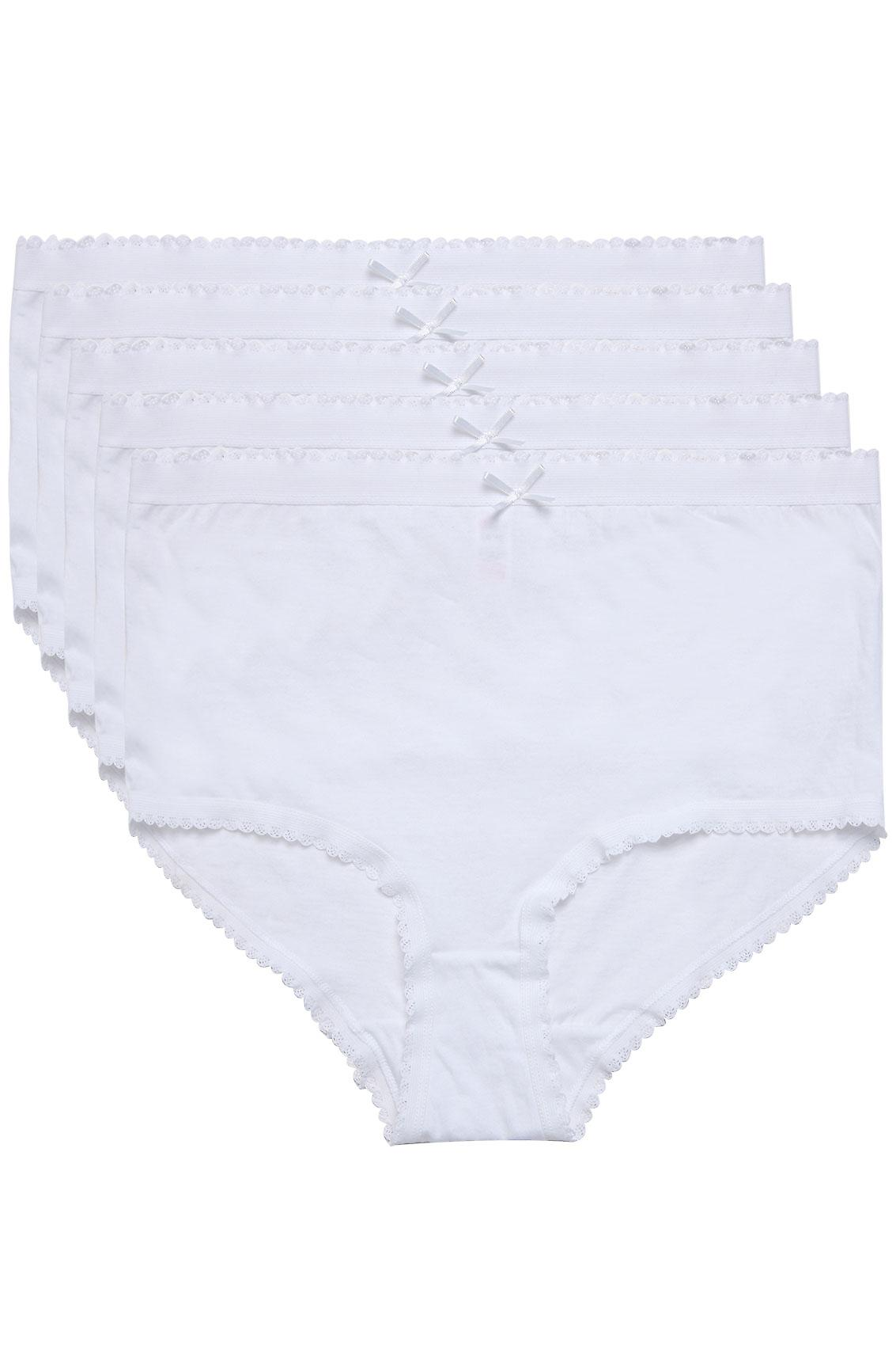 5 PACK White Cotton Full Briefs