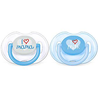 Avent Pacifiers Classic Texts 0 to 6 Months Boy 2 units