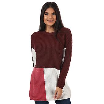Womens Only Blocky Colourblock Longline Jumper In Chocolate Truffle