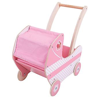 Bigjigs Toys Wooden Dolls Pram Buggy Stroller Pink Pretend Role Play