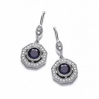Cavendish French Deco Style Tanzanite and Cubic Zirconia earrings