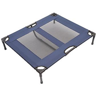 PawHut Dog Cat Puppy Pet Elevated Raised Cot Bed Portable Camping Basket – Blue (Large)