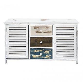 Rebecca Furniture Cabinet Cupboard Bench 3 Drawers 2 wood doors Multicolor White Shabby Hall