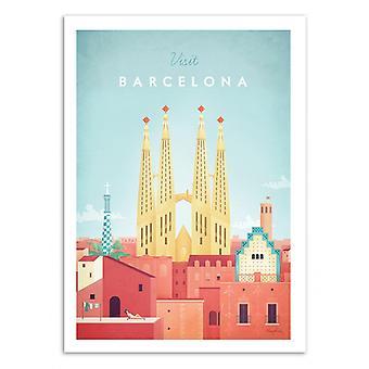 Art-poster-besök Barcelona-Henry Rivers 50 x 70 cm