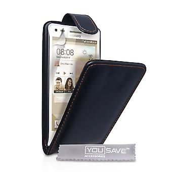 YouSave Accessories Huawei Ascend G6 Leather-Effect Flip Case - Black