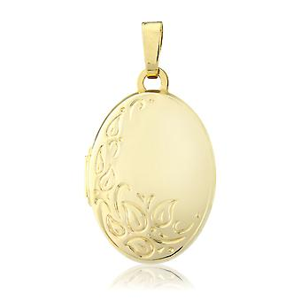 Jewelco London Ladies 9ct Yellow Gold Floral Motif Oval Locket Pendant - 18x14mm