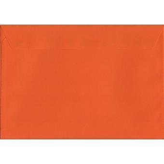 Pumpkin Orange Peel/Seal C4/A4 Coloured Orange Envelopes. 120gsm Luxury FSC Certified Paper. 229mm x 324mm. Wallet Style Envelope.