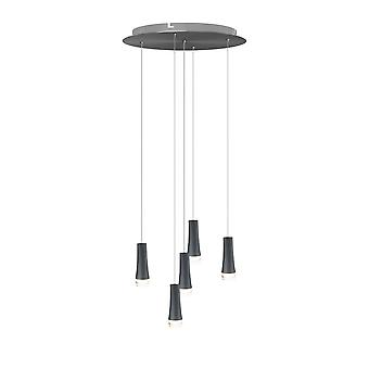 Vintage Industrial Black Ceiling light 5 Pendant Lamp Fixture Round Canopy New