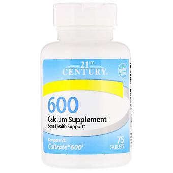 21st century calcium supplement 600, tablets, 75 ea