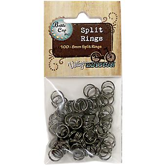 Vintage Collection Split Rings 8Mm 100 Pkg Black Srblk