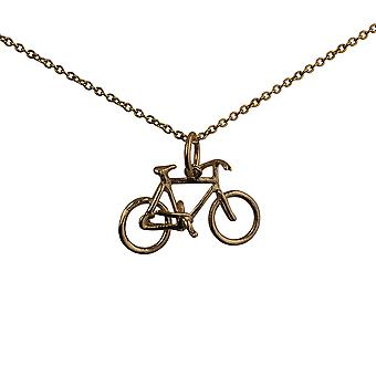 9ct Gold 12x20mm Bicycle Pendant with a cable Chain 16 inches Only Suitable for Children