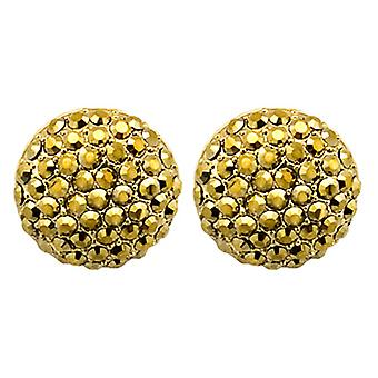 Butler & Wilson Large Round Crystal Stud Earrings - Gold