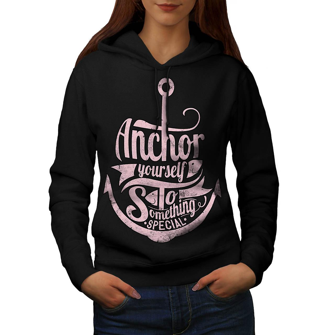 Anchor Special Person Captain Women Black Hoodie | Wellcoda