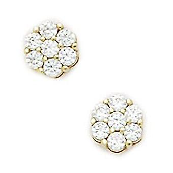 14k Yellow Gold Cubic Zirconia Small Cluster Flower Fancy Post Earrings - Measures 6x6mm