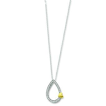 Sterling Silver Polished Gift Boxed Spring Ring Rhodium-plated accented gold plating Cubic Zirconia Necklace - 18 Inch