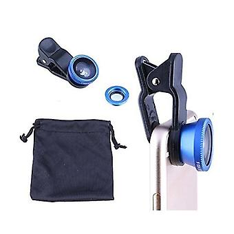 3 in 1 Fish Eye Wide Angle Macro Camera Clip on Lens for Universal Cell Phone, Smartphones, Iphone, Samsung Blue