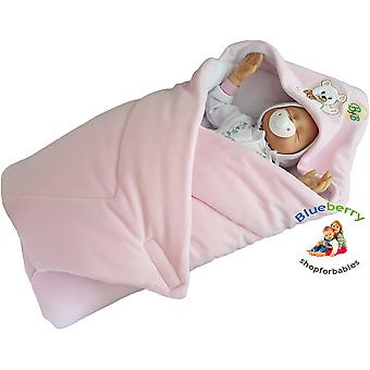 BlueberryShop Signature Hooded Velour Swaddle Wrap Blanket Sleeping Bag for Newborn, baby shower GIFT Cotton, 0-3m