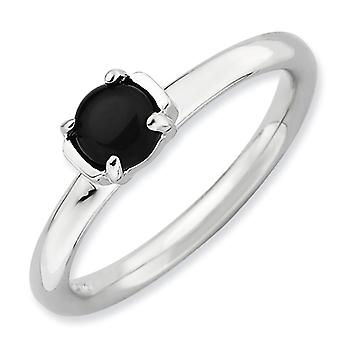 2.5mm Sterling Silver Stackable Expressions Polished Black Agate Ring - Ring Size: 5 to 10
