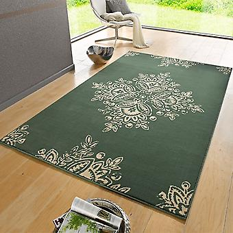 Designer velour carpet blossom green cream | 102427