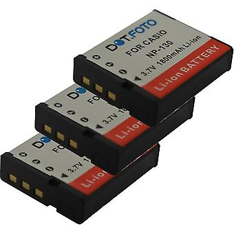 3 x Dot.Foto Casio NP-130, NP-130A Replacement Battery - 3.7v / 1800mAh