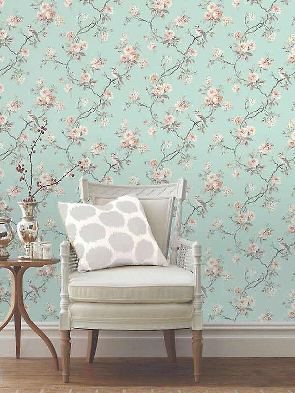 Fine Decor Chinoiserie Flower Birds Natural Teal Duck Egg Heavyweight Wallpaper