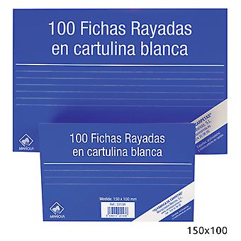 Import Pack 100 Ficha Cartulina Rayada150X100N3 (Toys , School Zone , Accessories)