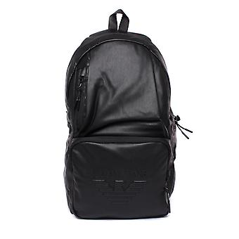 Armani Jeans Black Pleather Packable Backpack