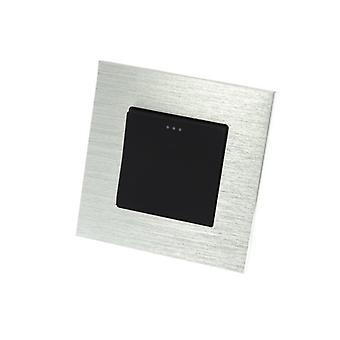 I LumoS Luxury Silver Brushed Aluminium Frame 1 Gang 2 Way Rocker Wall Light Switches