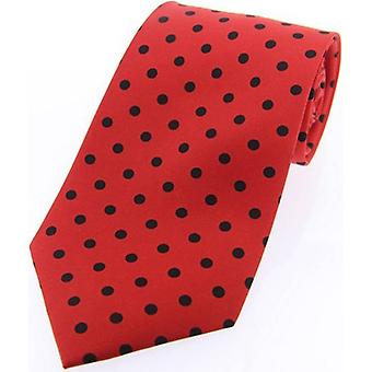David Van Hagen Polka Dot Silk Twill Tie  - Red/Black