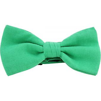 Knightsbridge Neckwear Plain Pre-Tied Cotton Bow Tie - Emerald Green