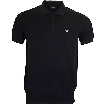 Armani Jeans C6w18 Ribbed Black Polo