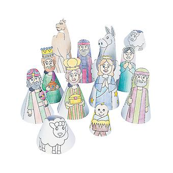 SALE - Giant Colour Your Own Cone Nativity Figures - Perfect for Christmas