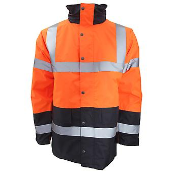 Portwest Mens Hi-Vis Waterproof Contrast Panel Traffic Jacket