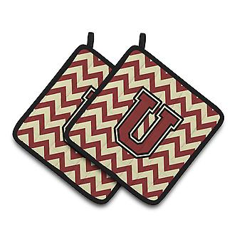 Letter U Chevron Maroon and Gold Pair of Pot Holders