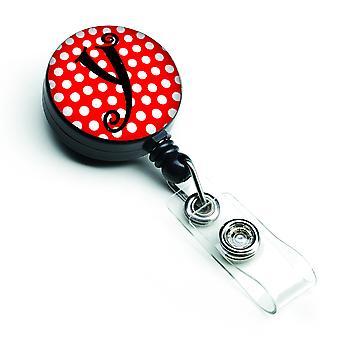 Monogram - Initial Y Red Black Polka Dots Retractable Badge Reel