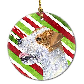 Jack Russell Terrier Candy Cane Holiday Christmas Ceramic Ornament SS4573