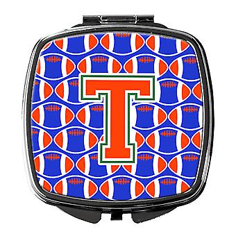 Letter T Football Green, Blue and Orange Compact Mirror