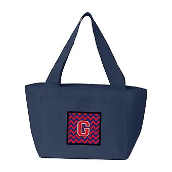 Buchstabe G Chevron Yale blau und Purpur Lunch Bag