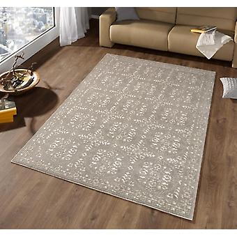 Design carpet border high depth effect suede taupe cream | 102288