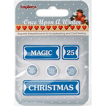 ScrapBerry's Once Upon A Winter Metal Words & Icons-#3: Magic, 25, Christmas & Snowflakes 340990