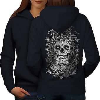 Owl Face Head Dead Skull Women NavyHoodie Back | Wellcoda