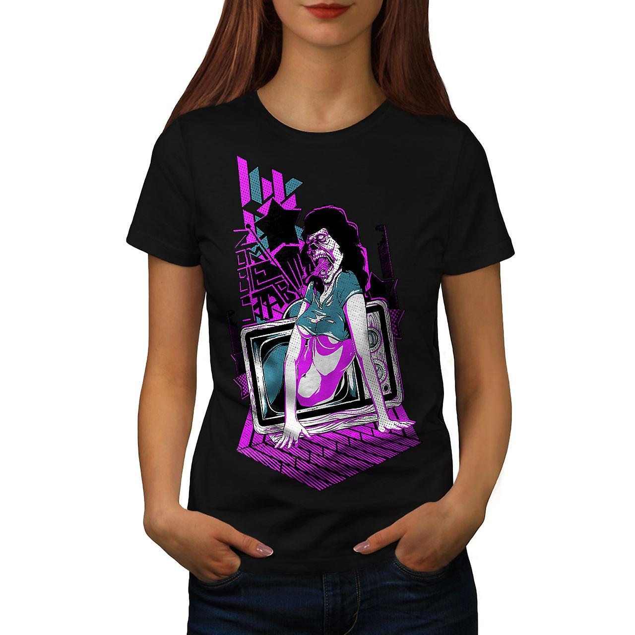 Dead Girl TV Art Zombie Women Black T-shirt | Wellcoda