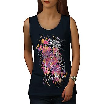 Art Girl Woman Women NavyTank Top | Wellcoda