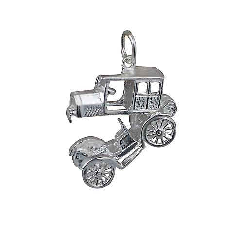 Silver 11x22mm moveable vintage Car Pendant or Charm