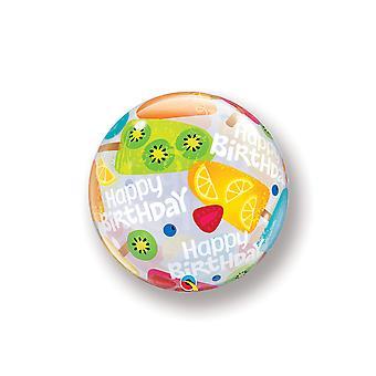Ballon Bubble Happy Birthday Geburtstag Eis Sommer Früchte circa 55cm Folienballon