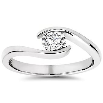 1/3ct Round Diamond Solitaire Modern Engagement Ring 14K White Gold