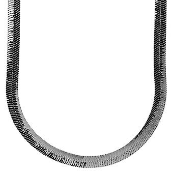 Iced out bling HERRING BONE hip hop chain - 8 mm black